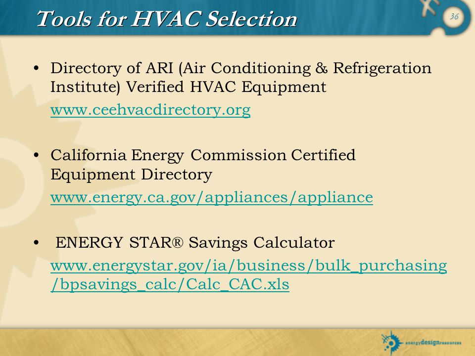 Tools for HVAC Selection