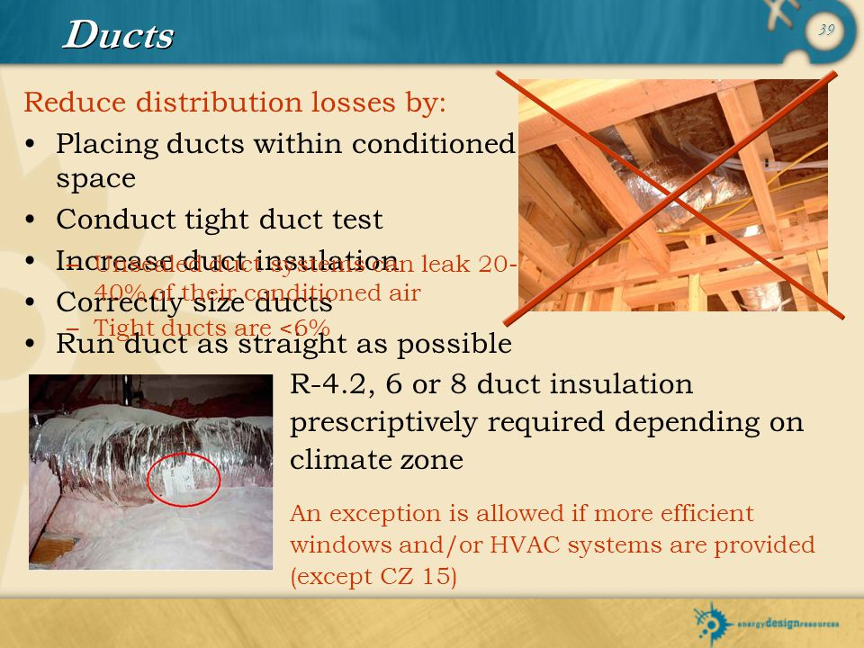 Ducts Reduce distribution losses by:
