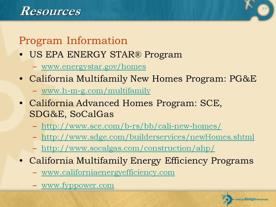 Resources Program Information US EPA ENERGY STAR® Program