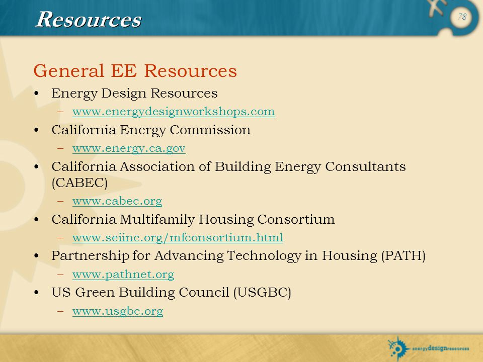 Resources General EE Resources Energy Design Resources