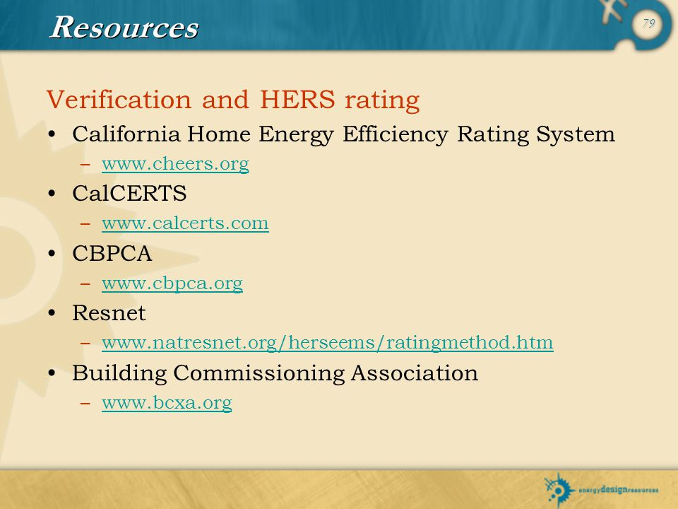 Resources Verification and HERS rating