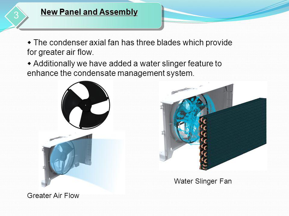 New Panel and Assembly 3. ◆ The condenser axial fan has three blades which provide for greater air flow.