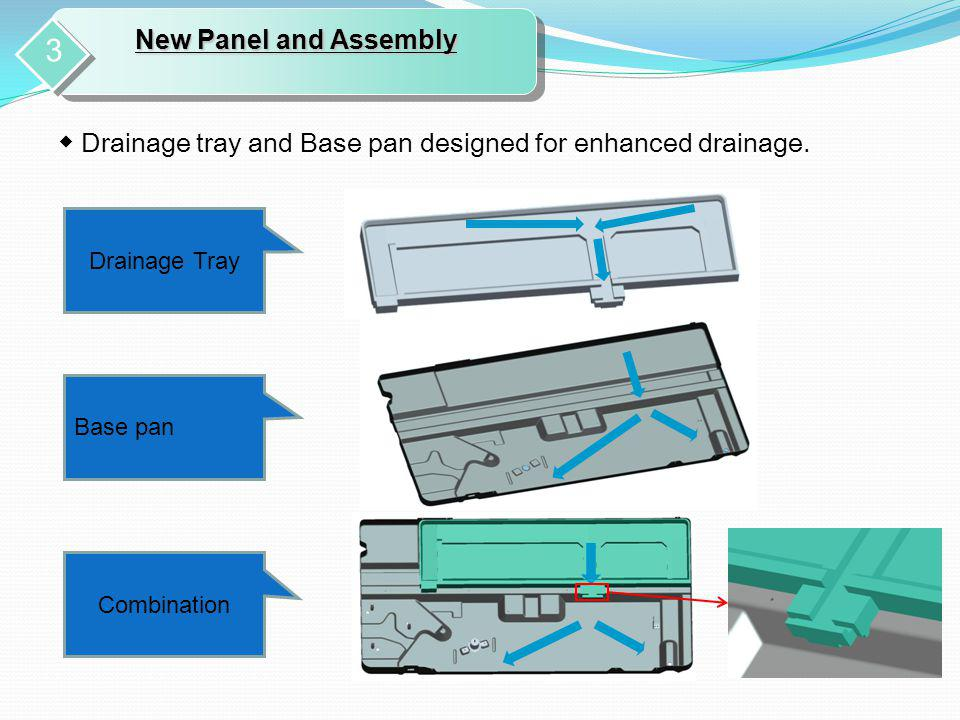 New Panel and Assembly 3. ◆ Drainage tray and Base pan designed for enhanced drainage. Drainage Tray.