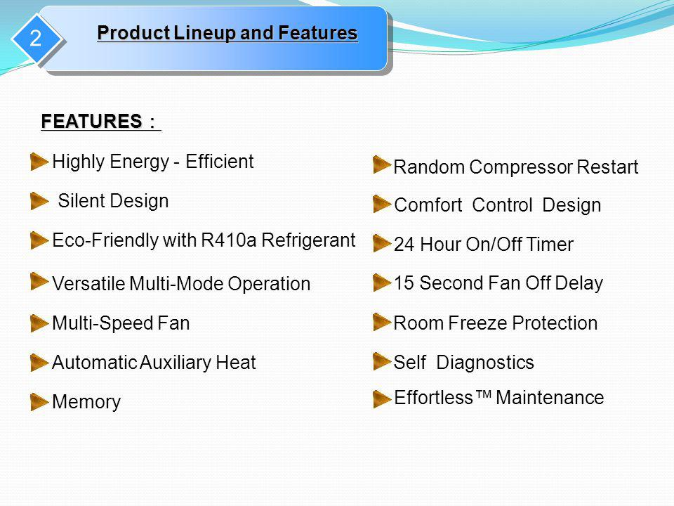 2 Product Lineup and Features FEATURES: Highly Energy - Efficient