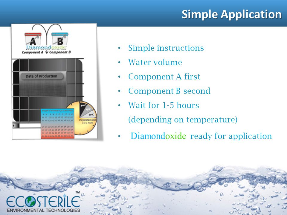 Simple Application Simple instructions Water volume Component A first