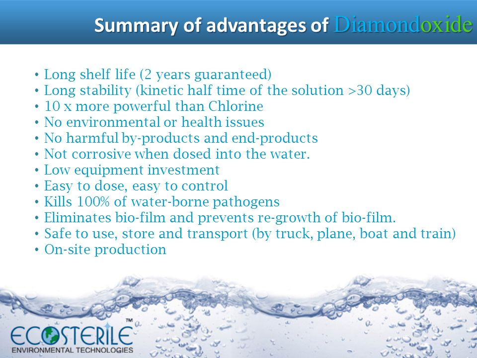 Summary of advantages of Diamondoxide