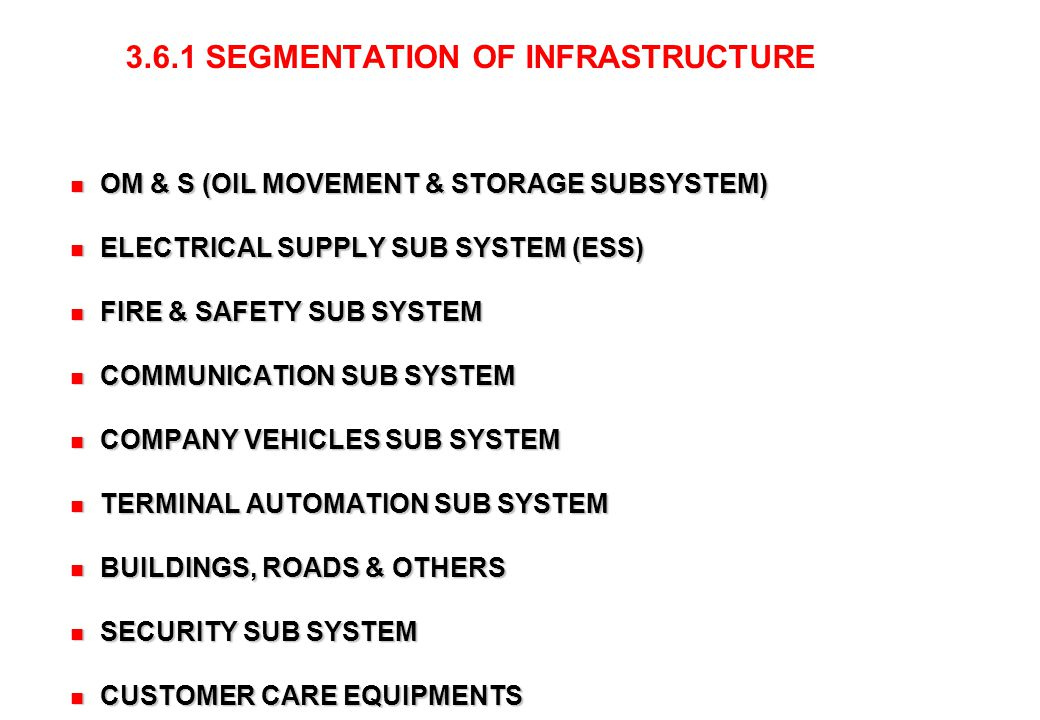 OM & S (OIL MOVEMENT & STORAGE SUBSYSTEM)