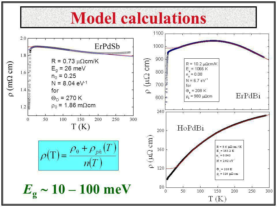 Model calculations Eg  10 – 100 meV R = 0.73 cm/K Eg = 26 meV
