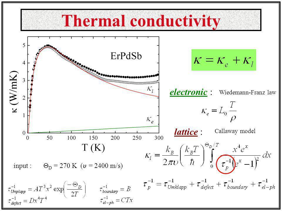 Thermal conductivity electronic : lattice :