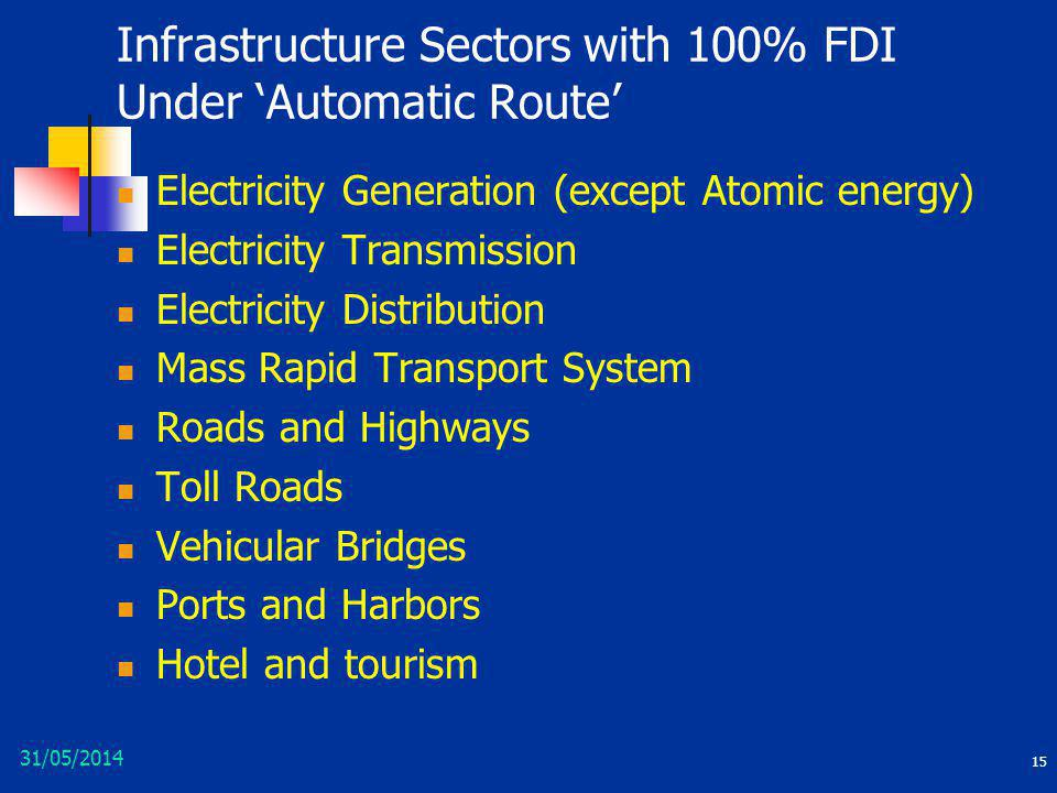 Infrastructure Sectors with 100% FDI Under 'Automatic Route'