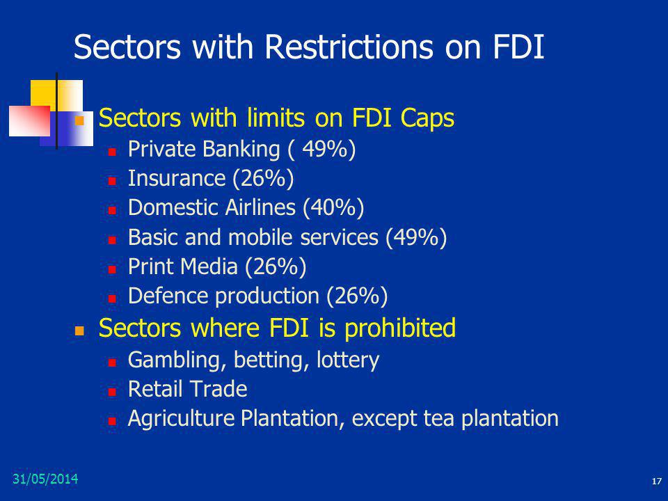 Sectors with Restrictions on FDI