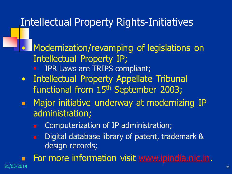 Intellectual Property Rights-Initiatives