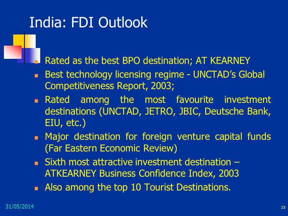 India: FDI Outlook Rated as the best BPO destination; AT KEARNEY