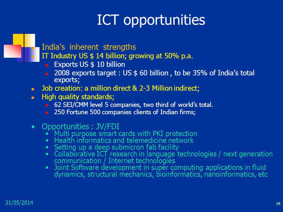 ICT opportunities India's inherent strengths Opportunities : JV/FDI