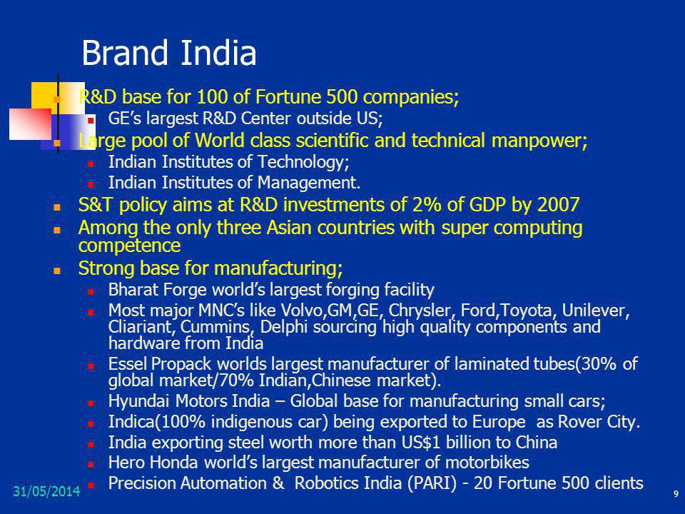 Brand India R&D base for 100 of Fortune 500 companies;
