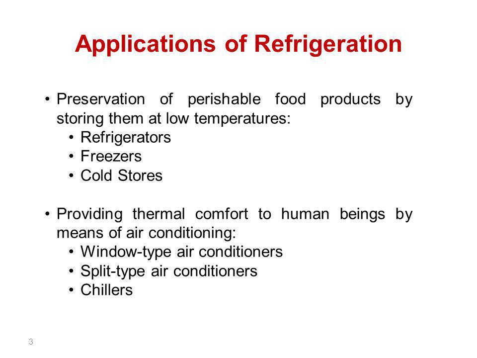 Applications of Refrigeration