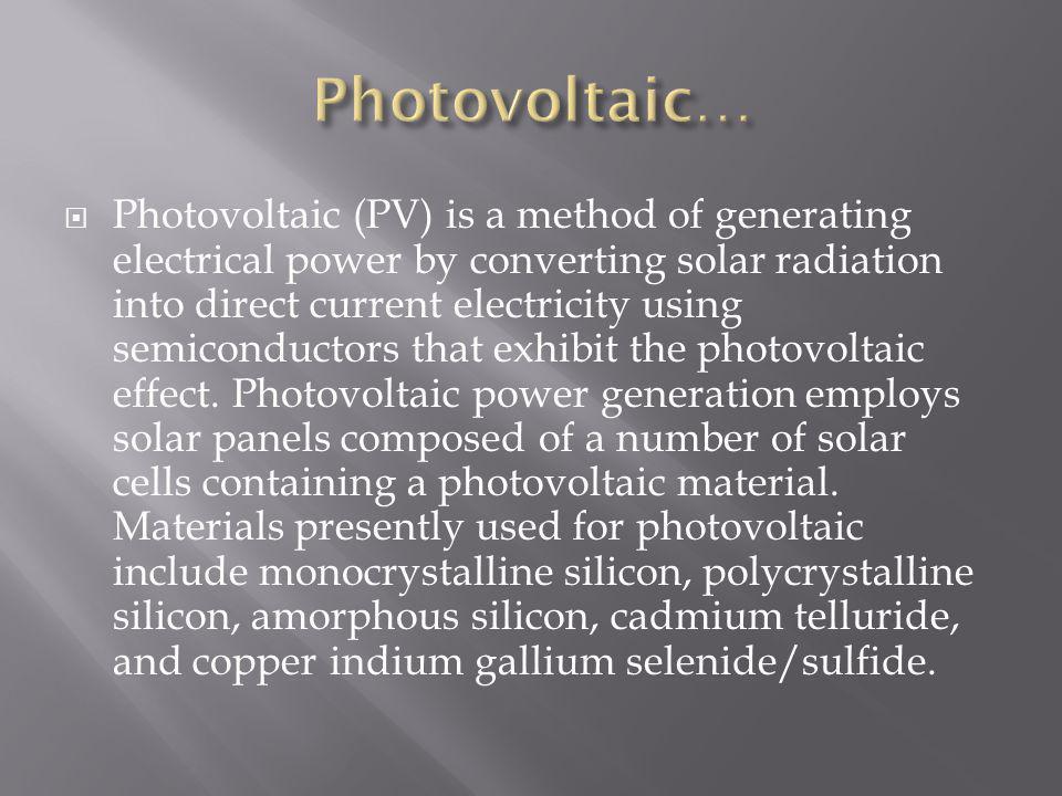Photovoltaic…
