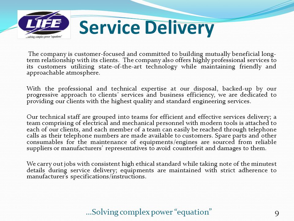 Service Delivery …Solving complex power equation