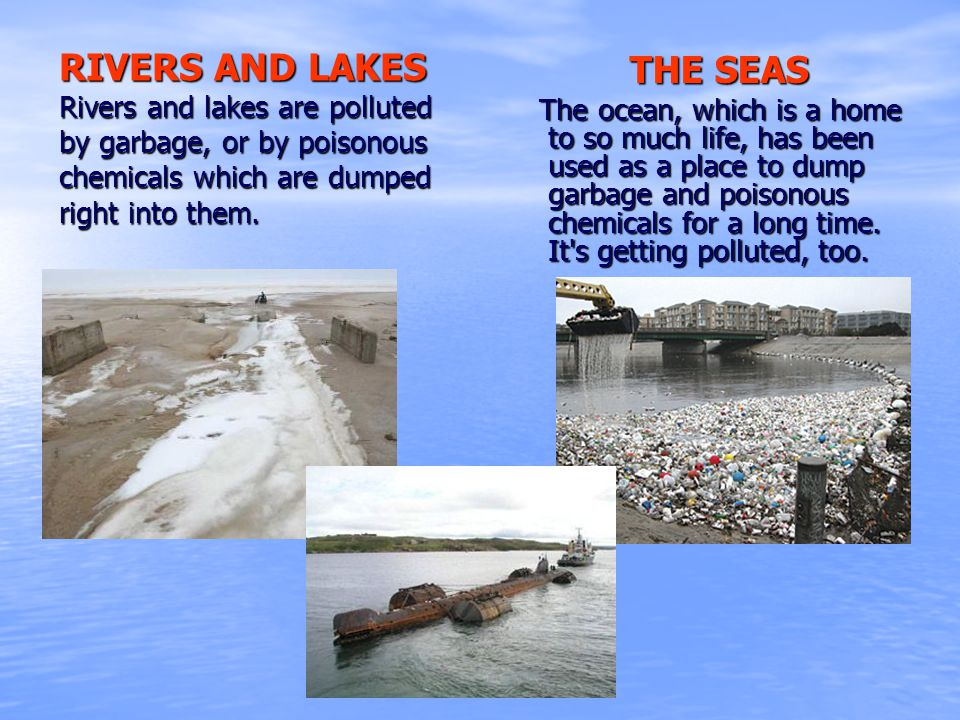 RIVERS AND LAKES Rivers and lakes are polluted by garbage, or by poisonous chemicals which are dumped right into them.