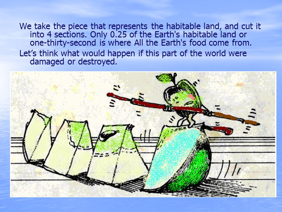 We take the piece that represents the habitable land, and cut it into 4 sections. Only 0.25 of the Earth s habitable land or one-thirty-second is where All the Earth s food come from.