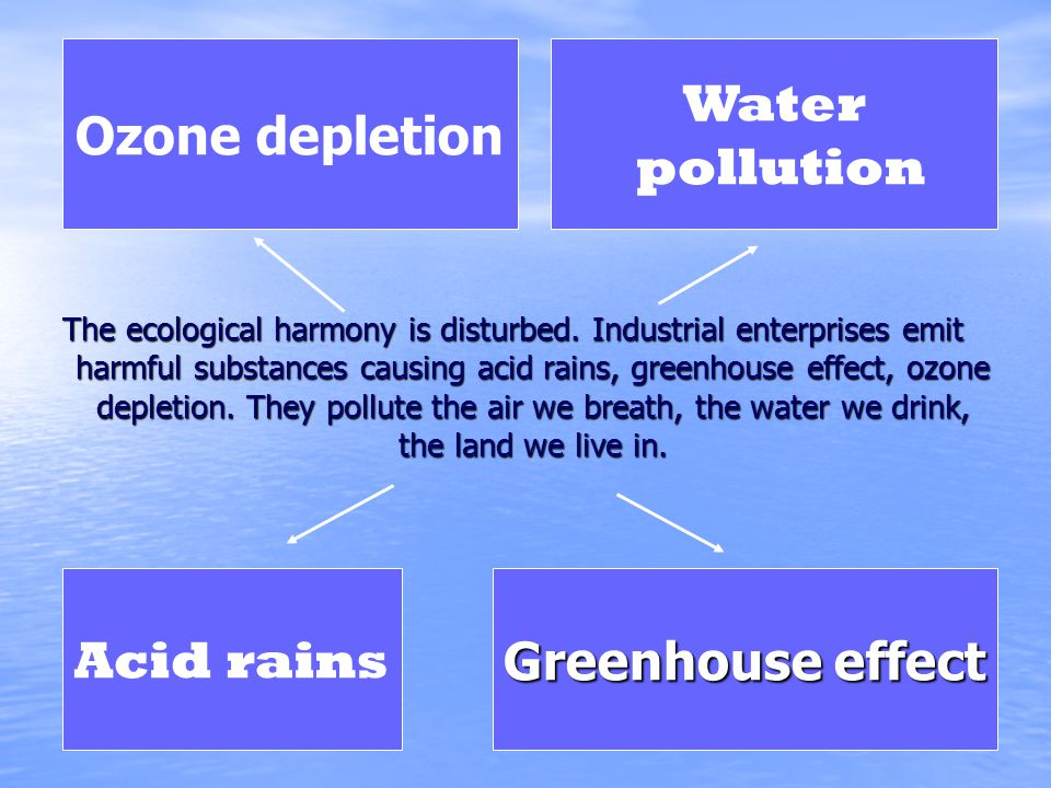 Ozone depletion Water pollution Acid rains Greenhouse effect