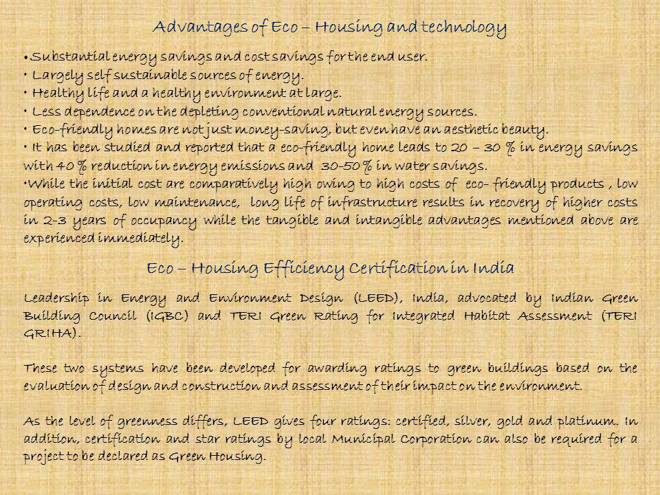Advantages of Eco – Housing and technology