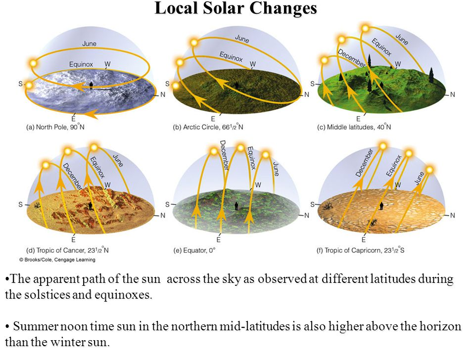 Local Solar Changes The apparent path of the sun across the sky as observed at different latitudes during the solstices and equinoxes.