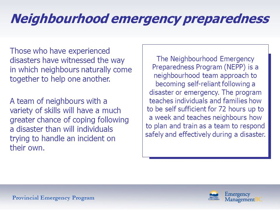 Neighbourhood emergency preparedness