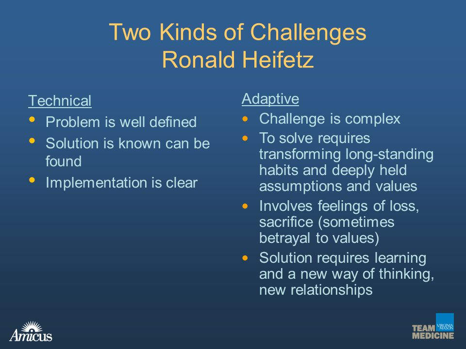 Two Kinds of Challenges Ronald Heifetz