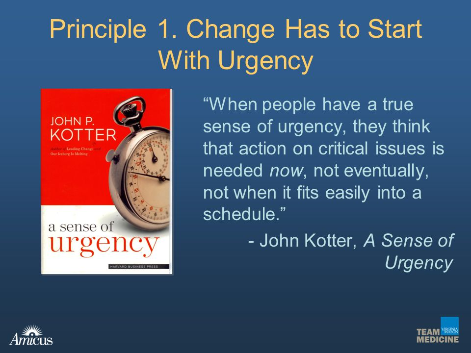 Principle 1. Change Has to Start With Urgency