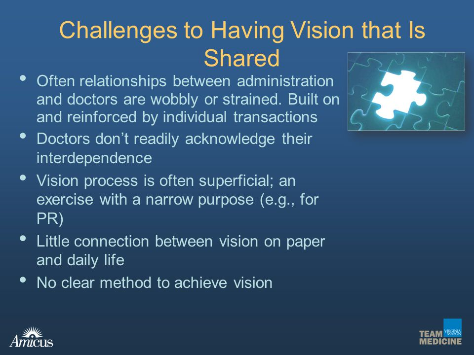 Challenges to Having Vision that Is Shared