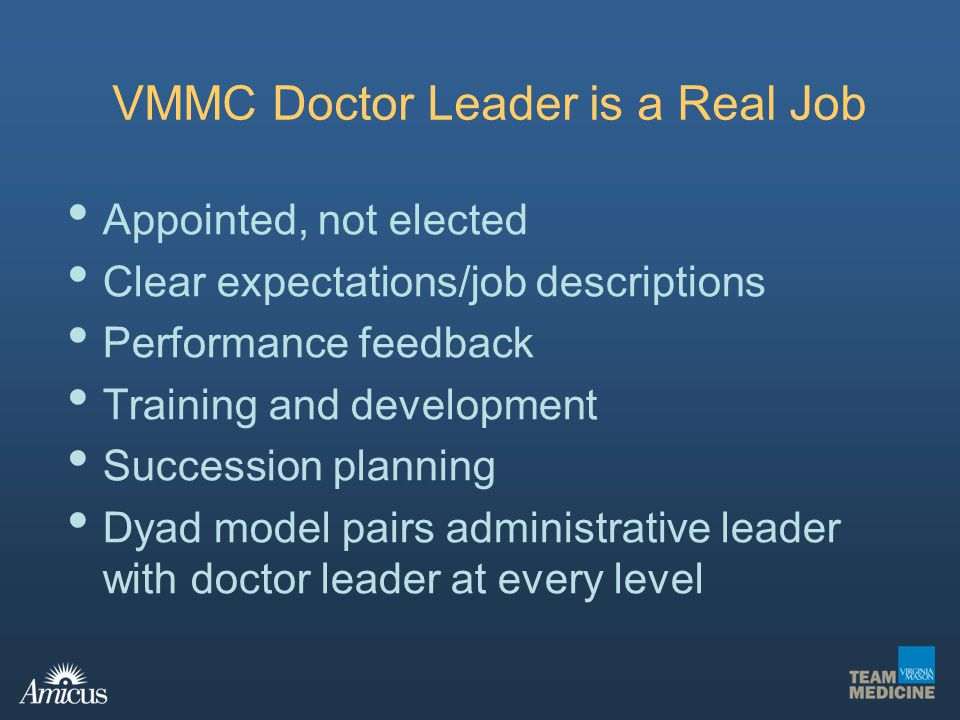 VMMC Doctor Leader is a Real Job