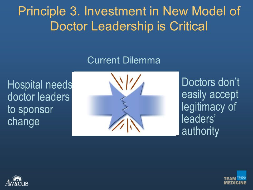 Principle 3. Investment in New Model of Doctor Leadership is Critical
