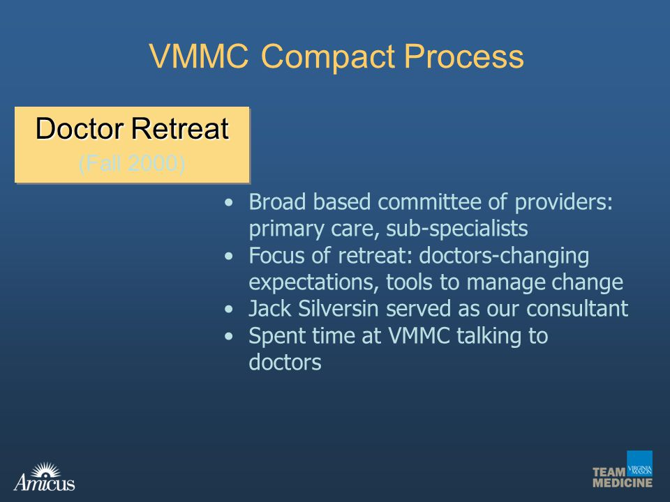 VMMC Compact Process Doctor Retreat (Fall 2000)