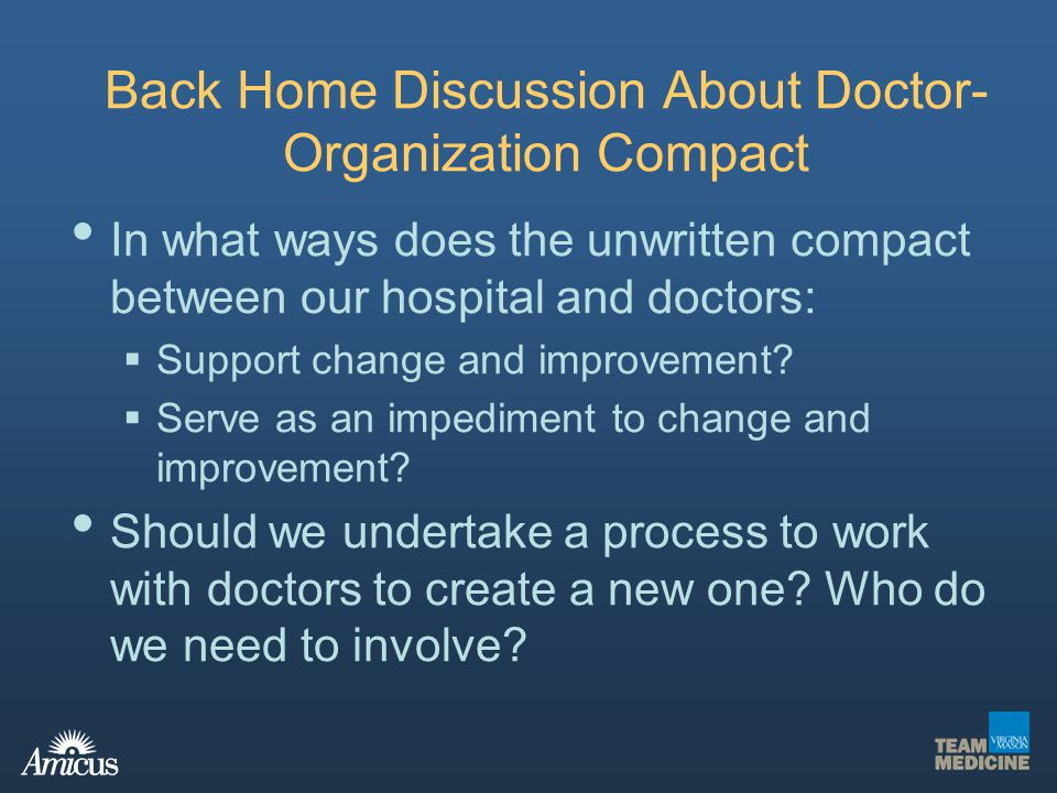 Back Home Discussion About Doctor-Organization Compact