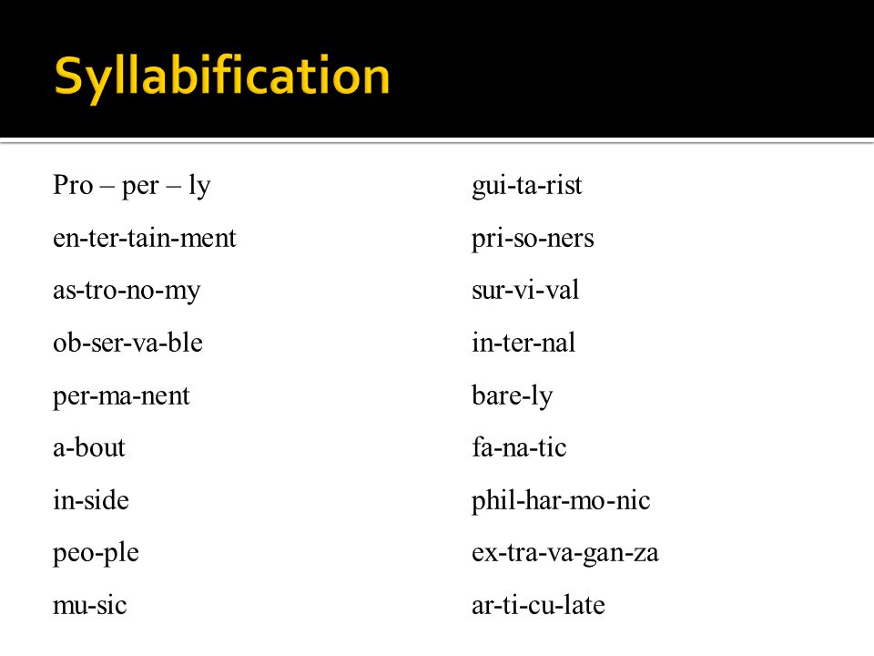 Syllabification Pro – per – ly en-ter-tain-ment as-tro-no-my ob-ser-va-ble per-ma-nent a-bout in-side peo-ple mu-sic