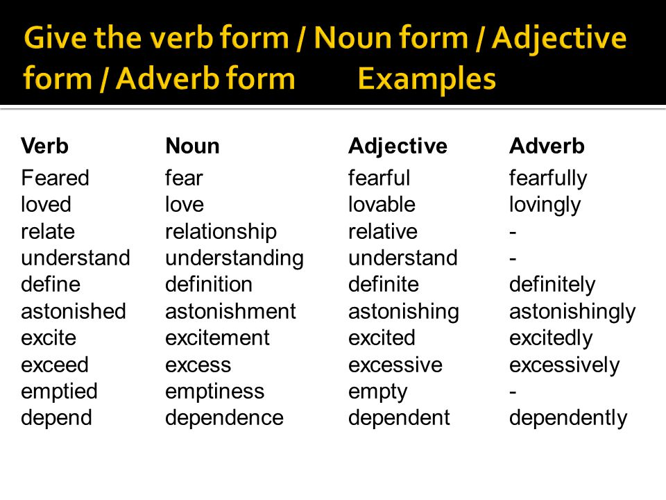 Give the verb form / Noun form / Adjective form / Adverb form Examples