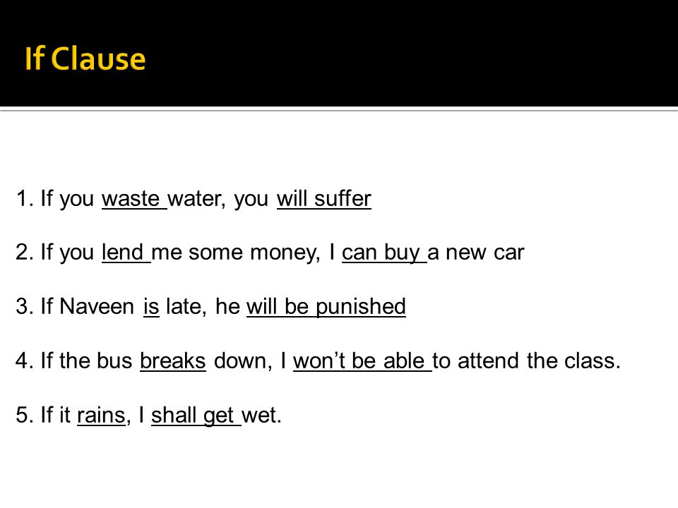 If Clause 1. If you waste water, you will suffer