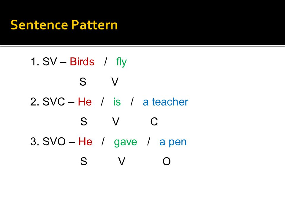 Sentence Pattern 1. SV – Birds / fly S V 2. SVC – He / is / a teacher