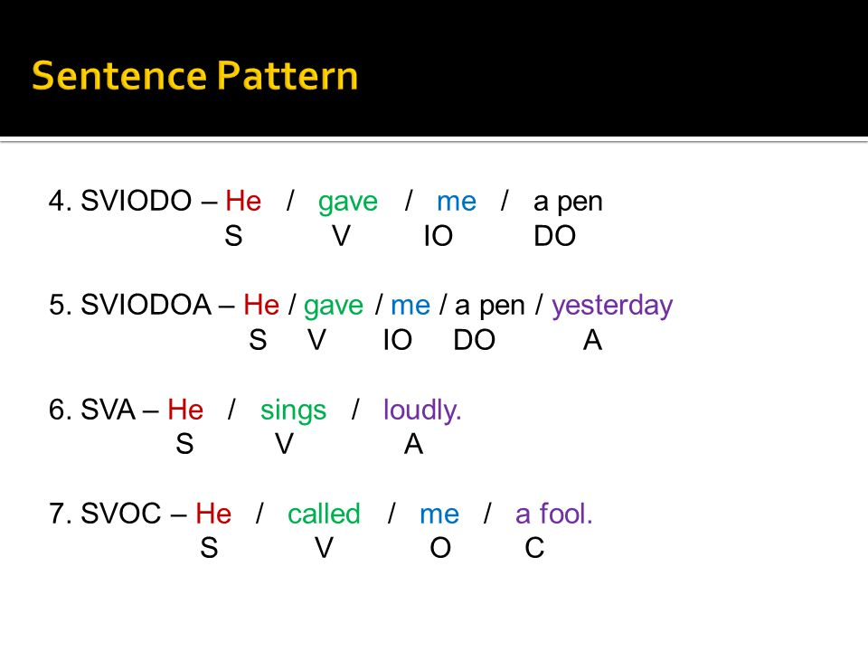 Sentence Pattern 4. SVIODO – He / gave / me / a pen S V IO DO
