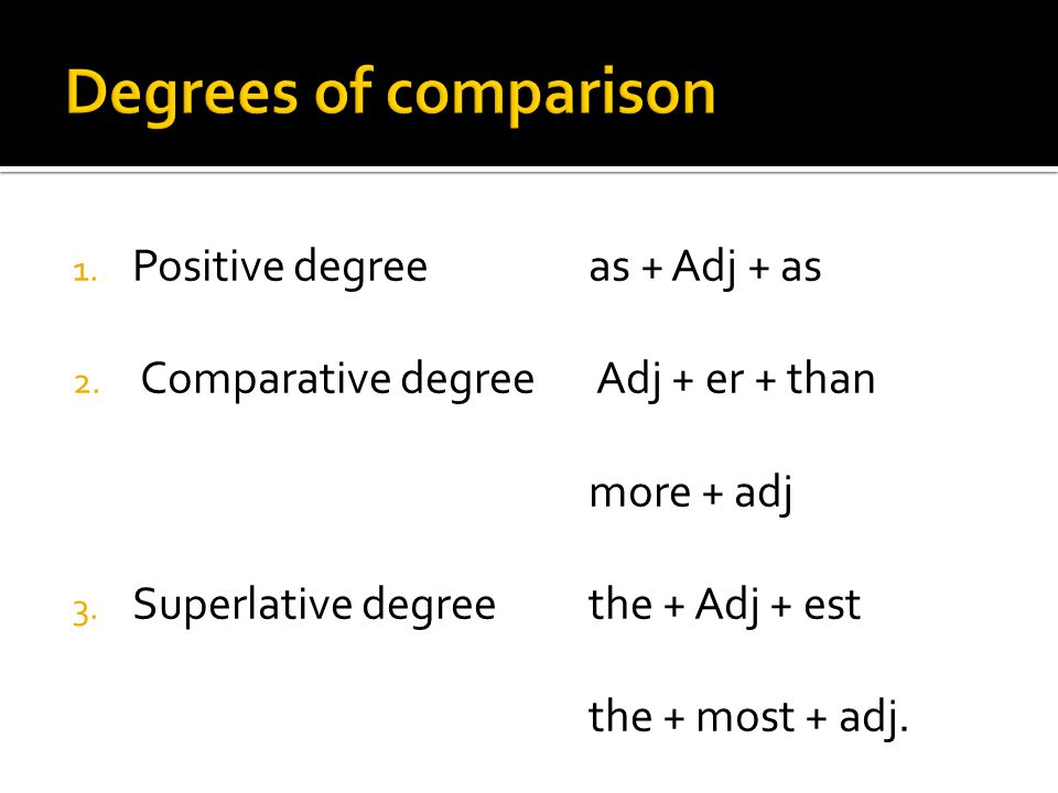Degrees of comparison Positive degree as + Adj + as