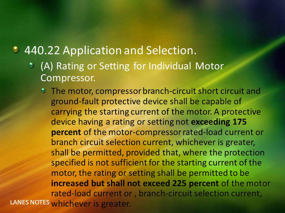 440.22 Application and Selection.
