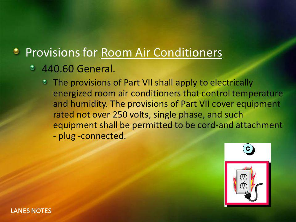 Provisions for Room Air Conditioners