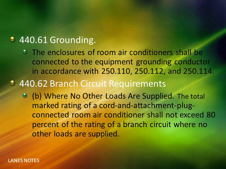 440.62 Branch Circuit Requirements