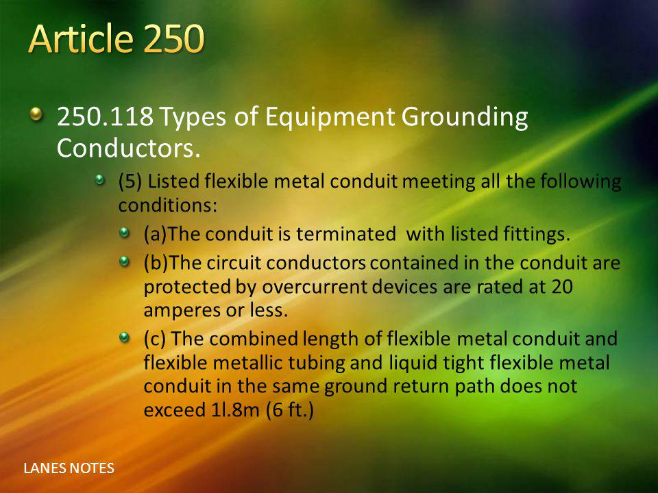 Article 250 250.118 Types of Equipment Grounding Conductors.