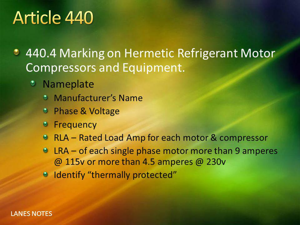 Article 440 440.4 Marking on Hermetic Refrigerant Motor Compressors and Equipment. Nameplate. Manufacturer's Name.