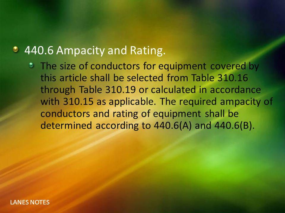 440.6 Ampacity and Rating.