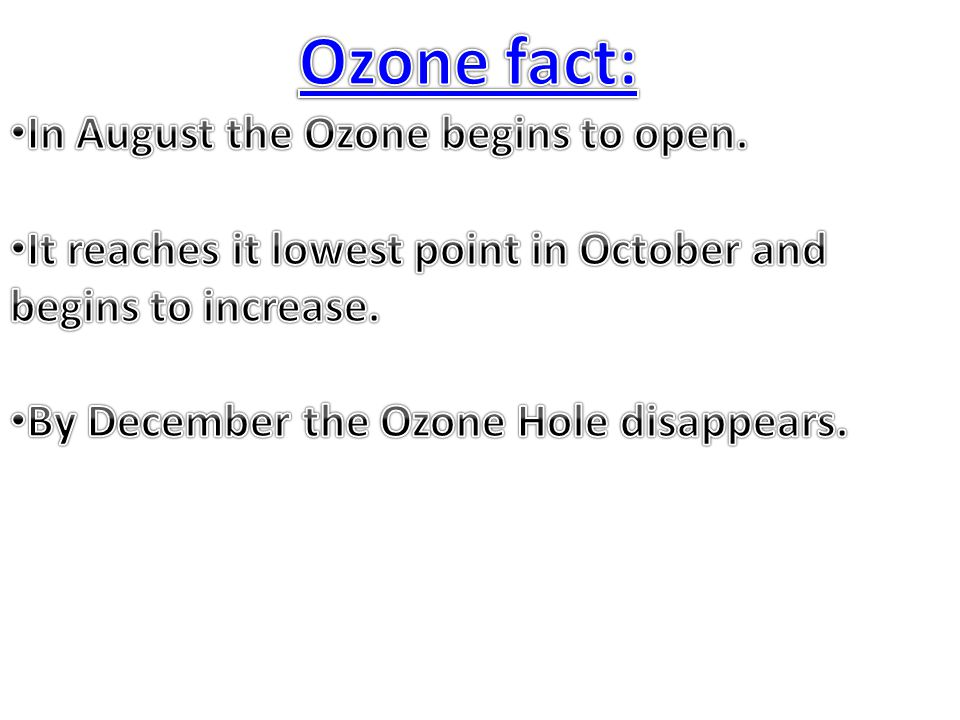 Ozone fact: In August the Ozone begins to open.