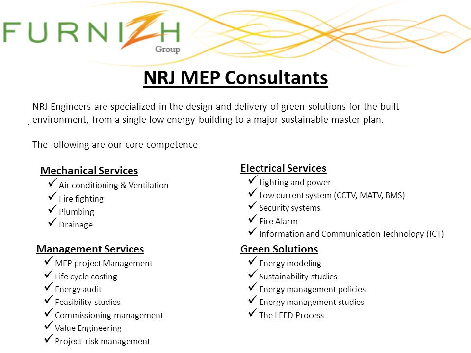 NRJ MEP Consultants Mechanical Services Electrical Services