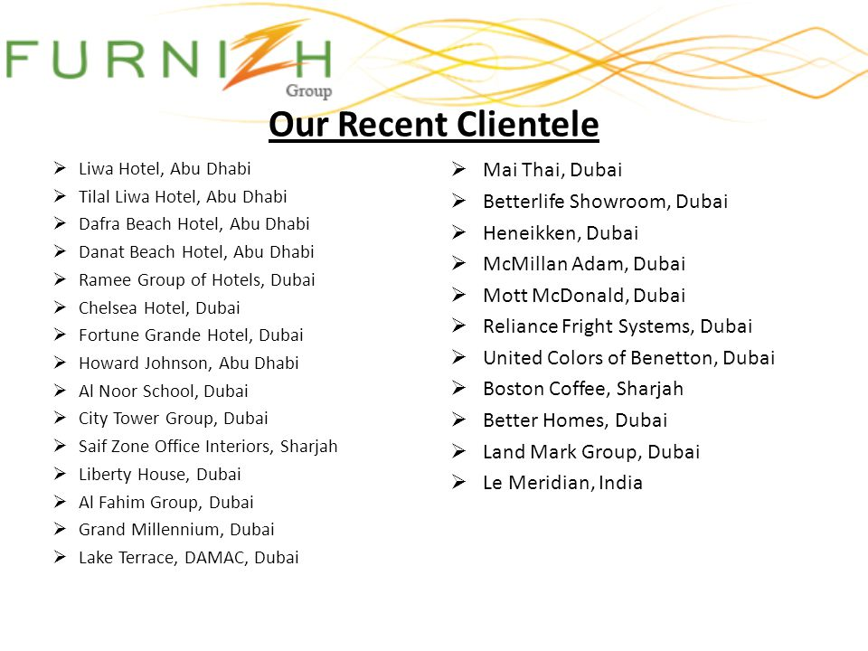 Our Recent Clientele Mai Thai, Dubai Betterlife Showroom, Dubai